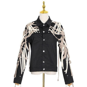 Patchwork Bandage Jacket Women Style Turn Down Collar Long Sleeve Single Breasted Coat