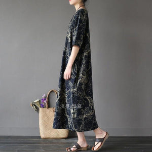 100% o neck linen summer Robes Neckline navy prints Dress