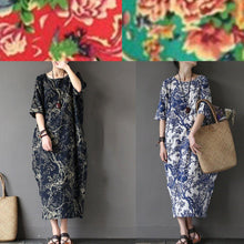 Load image into Gallery viewer, 100% o neck linen summer Robes Neckline navy prints Dress
