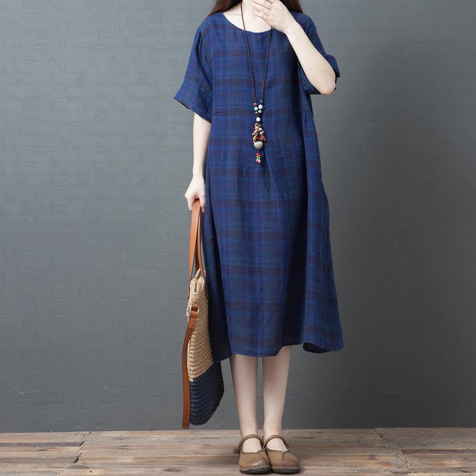 100% pockets o neck linen clothes Women Fabrics blue Plaid Dress summer