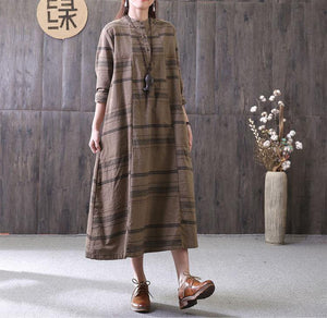 100% chocolate striped clothes stand collar drawstring Maxi Dress