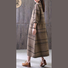 Load image into Gallery viewer, 100% chocolate striped clothes stand collar drawstring Maxi Dress