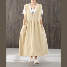 Load image into Gallery viewer, 100% khaki  quilting clothes v neck sleeveless Traveling fall Dresses