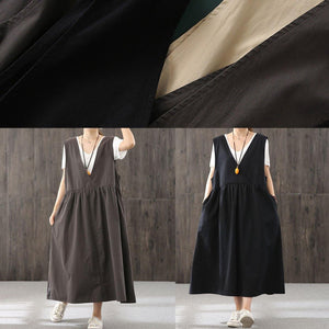 100% khaki  quilting clothes v neck sleeveless Traveling fall Dresses