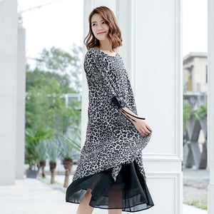 Leopard Print Lacing Ruffles Spliced Chiffon Polyester Dress