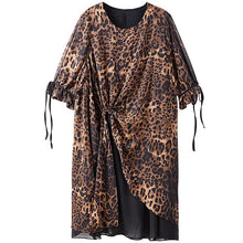 Load image into Gallery viewer, Leopard Print Lacing Ruffles Spliced Chiffon Polyester Dress