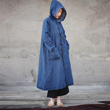 Load image into Gallery viewer, 2020 Spring Women Solid Color Denim Trench CoatsLoose Hooded Collar Patchwork Long Coats