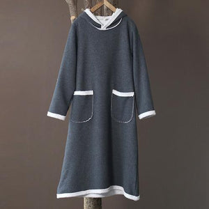 Omychic Autumn Winter Fleece Hooded Dress Ladies Vintage Patchwork Loose Dresses Female 2020 Fleeced Dress