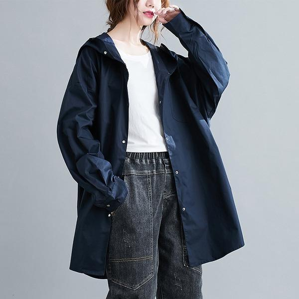 cotton plus size Oversized hooded vintage casual loose autumn spring trench coat
