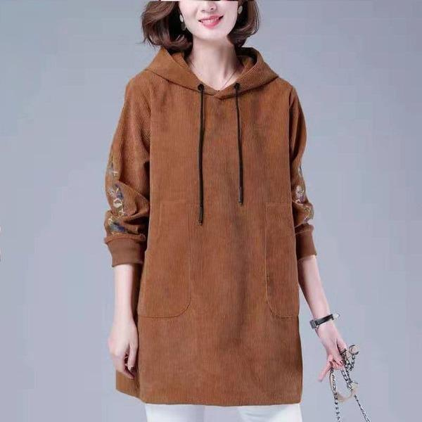 Winter Casual Hooded Sweatshirt New 2020 Vintage Corduroy Floral Embroidery Female Pullover
