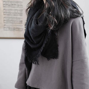 Tassel Irregular Solid Scarves Women 2020 Winter Casual Fashion New Style Temperament All Match Women Clothes