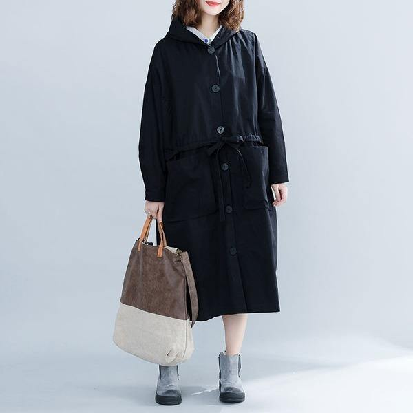 Black Casual Trench For Women Bandage Coats Hooded Button Pockets Loose Women Cloths