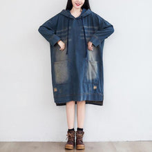 Load image into Gallery viewer, Denim Hooded Dress Ladies Bleached Ripped Irregular Length Denim Dresses Female 2020 Scratched Dress