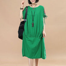 Laden Sie das Bild in den Galerie-Viewer, Splicing Women Loose Casual Summer String Folded Cotton Green Dress