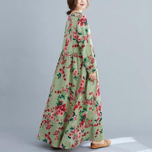 Load image into Gallery viewer, Autumn Vintage Style O-neck Floral Print Ladies Cotton Linen Long Dresses