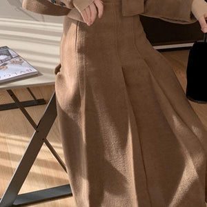 Vintage Wrinkles Skirt Women Winter Trendy Fashion New Style A Line Style Empire Waist Elegant Match All Pleated