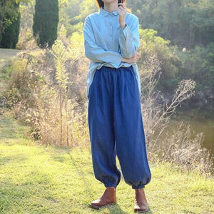 Loose Solid Color Vintage Linen Pants Ladies Elastic Waist Flax Trousers