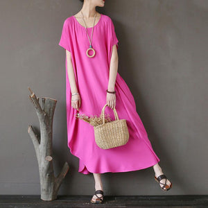 Women Cotton Short Sleeve Plain Pink Loose Dress