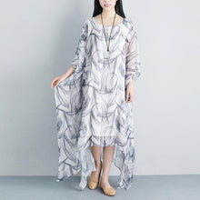Load image into Gallery viewer, Summer Loose Casual Fake Two-piece Half Sleeve Gray Long Dress