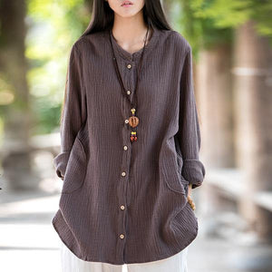 2020 Spring New Vintage Loose Solid Color Cotton Linen O-Neck Long Sleeve Coats