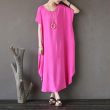 Load image into Gallery viewer, Women Cotton Short Sleeve Plain Pink Loose Dress