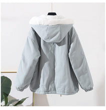 Load image into Gallery viewer, Women Winter Cotton Padded Jackets Hooded BF Tooling Cotton Lamb Wool Coat