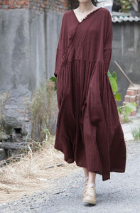 Vintage Solid Color V Neck Ripped Dress Ladies Loose Robe Dress