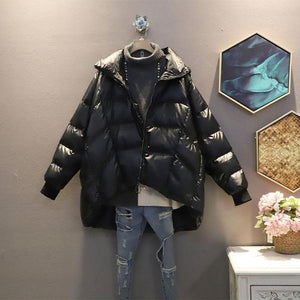 Solid Color Casual Parka Simplicity Temperament Loose Hooded Collar Women Top Winter E Keep Warm Fashion