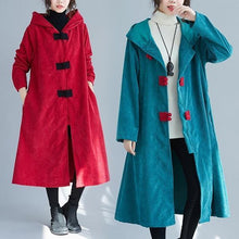 Laden Sie das Bild in den Galerie-Viewer, corduroy plus size solid vintage hooded women casual loose long autumn winter female trench coat 2020 clothes