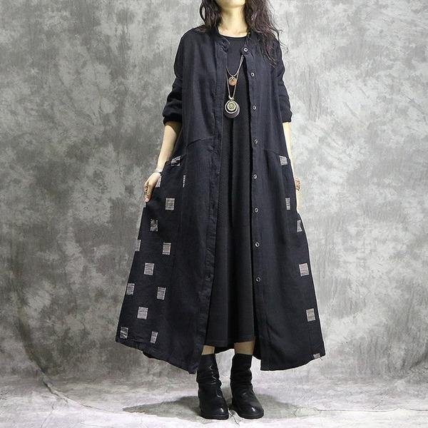 Women Cotton Linen Trench Vintage Autumn Coats Patchwork  Clothing Black Trench Coats