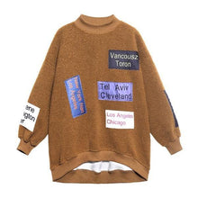 Load image into Gallery viewer, Patchwork Letter Print Pattern Sweatshirt  Winter  Style Temperament All Match Sweatshirt