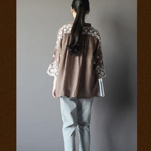 1930s Plus size embroideried women top shirt in dark khaki