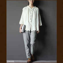 Load image into Gallery viewer, 1930s White embroideried women shirt top oversize