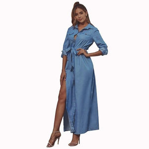 omychic plus size sexy Split for women casual loose maxi long autumn denim shirt dress