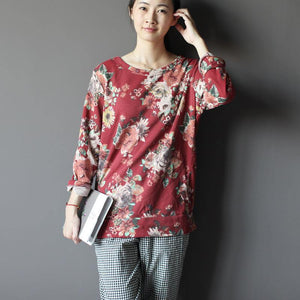 1990s fall women floral shirt top pullover plus size in brick red
