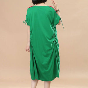 Splicing Women Loose Casual Summer String Folded Cotton Green Dress