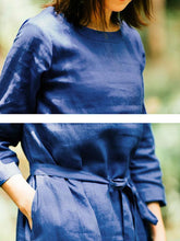 Load image into Gallery viewer, Loose Casual Women Round Neck Three Quarter Sleeve Blue Dress