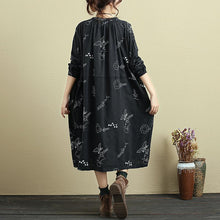 Load image into Gallery viewer, Women Round Neck Lacing Half Sleeve Printing Linen Dress