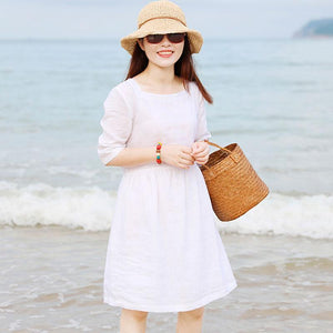 Special Collar Design Women Half Sleeve Loose White Folded Dress