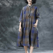 Load image into Gallery viewer, Plaid Casual Pockets Summer Half Sleeve Dress