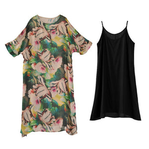 Loose Round Neck Half Sleeve Printed Dress Two Pieces