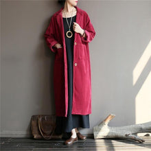 Load image into Gallery viewer, 2020 Autumn Winter New Solid Color Long Sleeve Button Pockets Casual Loose Women Trench
