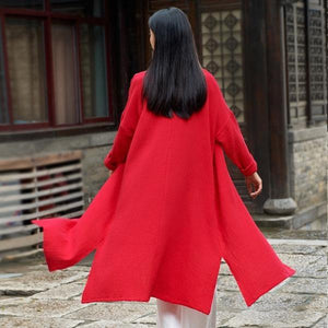 2020 Autumn New Cotton Linen Long Sleeve Quality Loose Women Coat