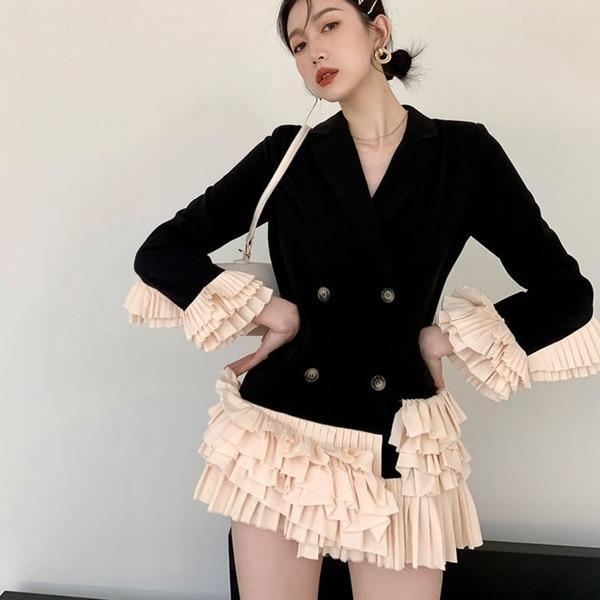 Patchwork Double Breasted Blazer Women 2020 Winter Casual Fashion New Style Temperament All Match Women Clothes