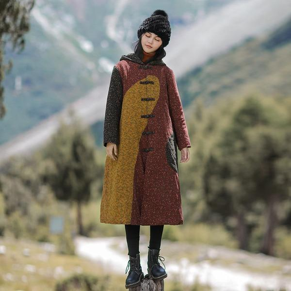 Print Floral Chinese Style Winter Women Clothing Warm Parkas