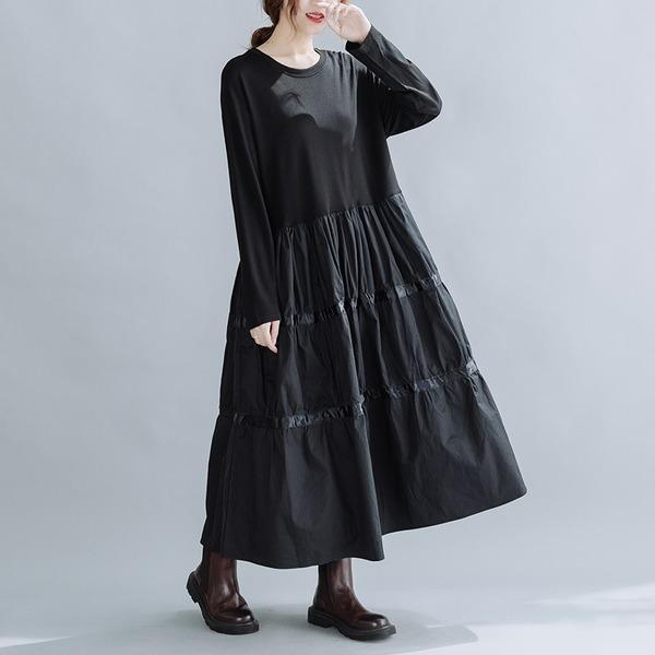 omychic plus size black cotton vintage for women casual loose spring autumn dress