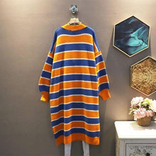 Load image into Gallery viewer, Knitting Stripe Splicing Dress Contrast Color Casual Collar Pullover Loose Dress