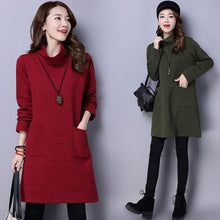 Load image into Gallery viewer, long sleeve cotton vintage plus size women casual loose mini short winter autumn dress