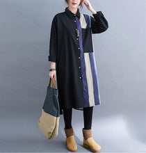 Load image into Gallery viewer, long sleeve plus size cotton linen vintage for women causal loose autumn midi shirt dress