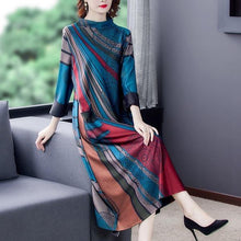 Load image into Gallery viewer, plus size cotton vintage floral for women casual loose autumn winter dress